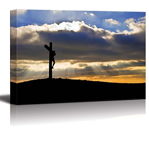 Jesus Christ Wall Cross - Canvas Prints Wall Art - Silhouette of Jesus Christ Crucifixion on Cross on Good Friday Easter - 24