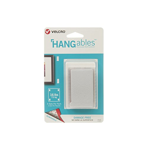 VELCRO Brand - HANGables - Removable Wall Fasteners, Large Strips - 4 ct