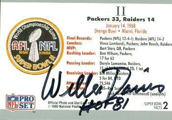 - WIllie Davis autographed Football Card (Green Bay Packers) 1990 Pro Set #2 Super Bowl II back - NFL Autographed Football Cards