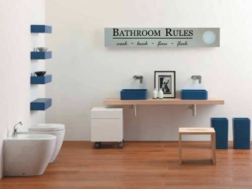 BATHROOM RULES Wash Brush Floss Flush Vinyl Wall Decal (Car Wash Decal)