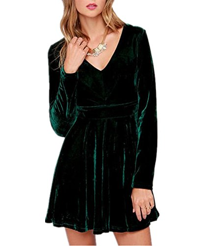 Huiyuzhi Women's Long Sleeve V-Neck Velvet Dress Pleated Dress (S, Green)