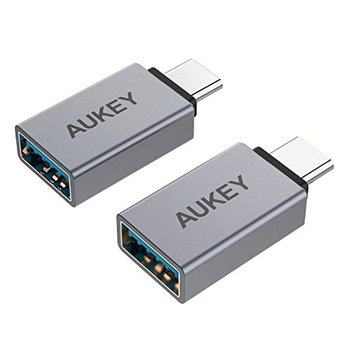 AUKEY USB C Adapter Aluminum [2 Pack] USB 3.0 Adapter Mini Compatible MacBook Pro 2017 / 2016 , Google Chromebook Pixelbook , Samsung Galaxy S9 / S8 / S8+ / Note 8 , Google Pixel 2 / 2XL - Space Gray
