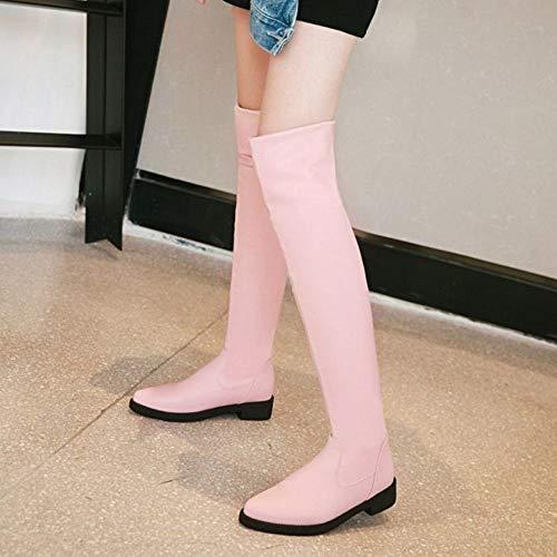 Mode Femmes Longue Taoffen Rose Hiver Plates Bottes Automne 2 BUvwAnS