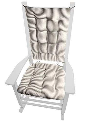 Barnett Home Decor Ticking Stripe Black Rocking Chair Cushion Set - Standard - Seat Pad and Back Rest with Ties- Reversible, Latex Foam Fill - Made in USA (Black/Natural)