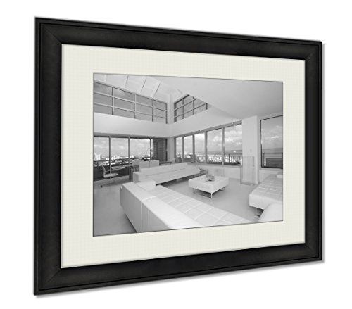 Ashley Framed Prints South Point Penthouse View, Wall Art Home Decoration, Black/White, 26x30 (frame size), AG5462428 (Condo Penthouse)