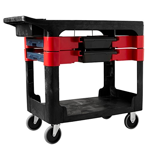 Rubbermaid Commercial Utility Cart, Black, - Shelf Cart 2 Rubbermaid Service