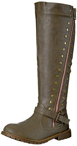 Brinley Co Women's Whirl Knee High Boot Taupe