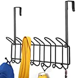 Minggoo Coat Rack Wall Mounted Hook Rack Over The Door Hook Organizer 13 Hooks, Heavy-Duty Iron Wire Black