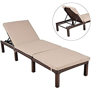 DUSTNIE Outdoor Patio Chaise Lounge Chair   Outside Furniture Garden  Recliner Sunbathing Tanning Reading Bed Pool Yard Deck Sun Rattan Wicker  Lounger Chairs ...