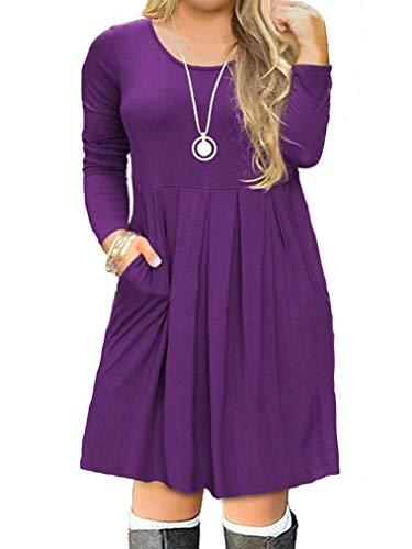 (Women's Plus Size Casual Pleated Loose Swing Dress with Pockets Purple 14W)