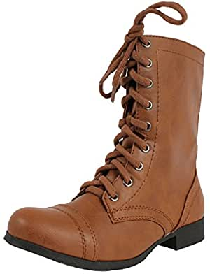 Soda Women's Relax Faux Leather Military Combat Lace Up Boots , Tan, 65 M US