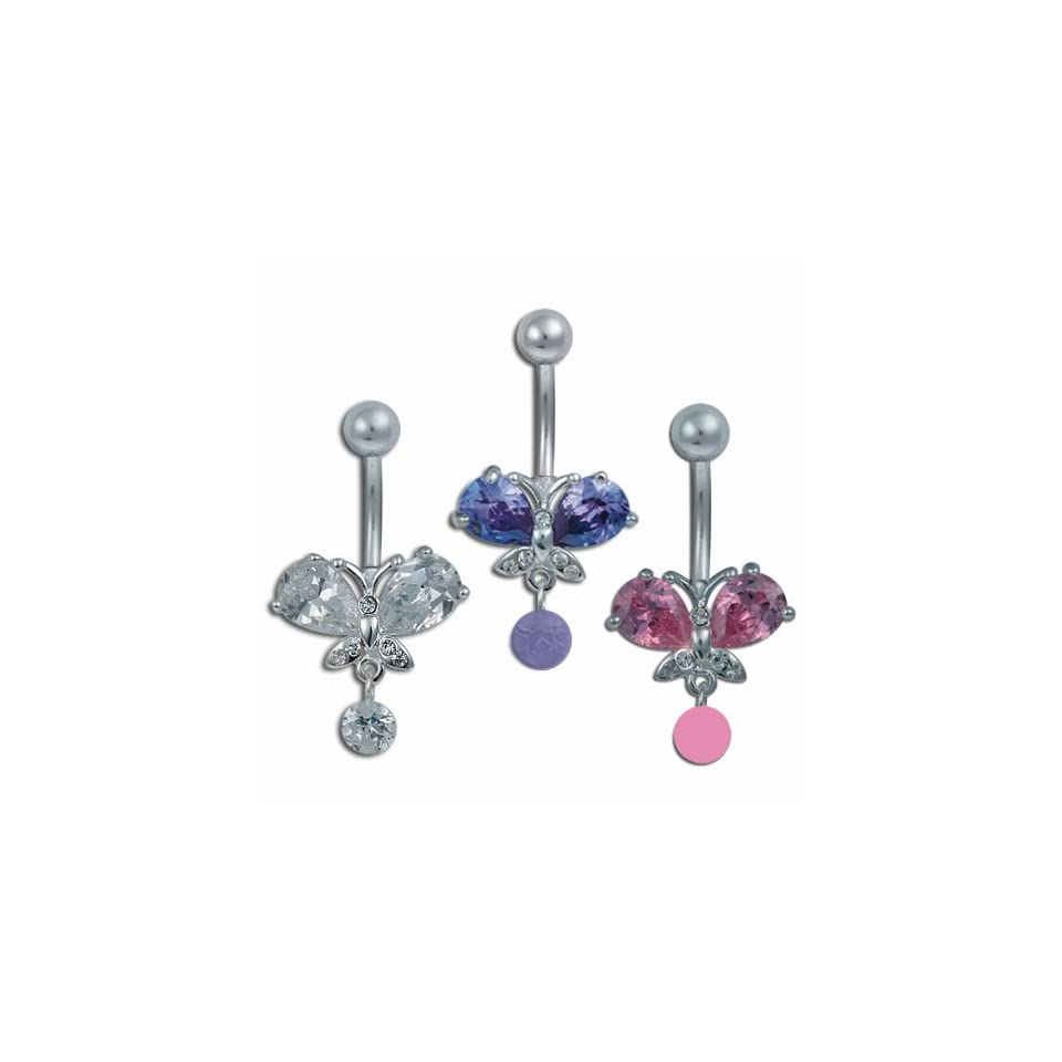 Jeweled Butterfly Belly Ring with a Small Dangling Stone Drop