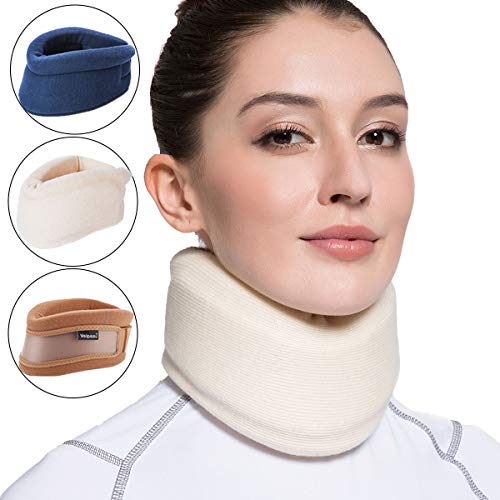 Velpeau Neck Brace -Foam Cervical Collar - Soft Neck Support Relieves Pain & Pressure in Spine - Wraps Aligns Stabilizes Vertebrae - Can Be Used During Sleep (Enhanced, Milk-White, Medium, 3″)