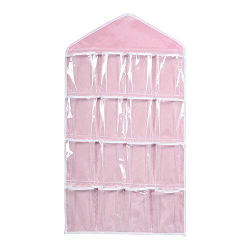 UEETEK 16 Pockets Hanging Closet Door Hanging Bag Shoe Rack Hanger Underwear Socks Bra Ties Storage Tidy Organize (Pink)