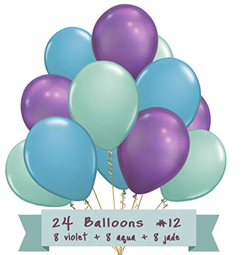 Mermaid Party Balloon Bundle Latex Ballon Colors Decorations Supplies Decor 24 Pack -
