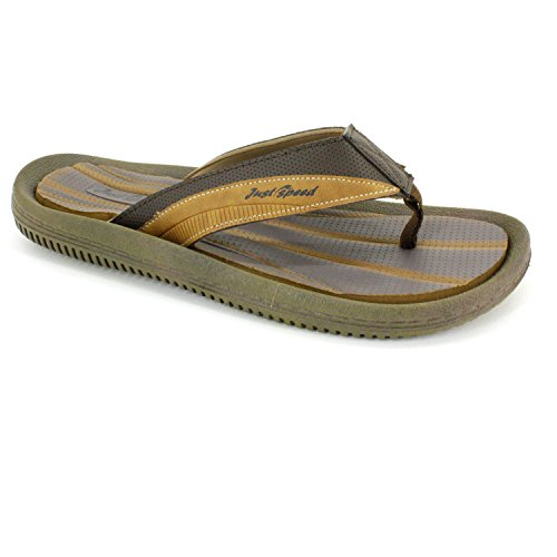 Just Speed Men's Sandals �?Flip Flops, Cushion Footbed & Flexible outsole Brown-camel