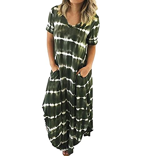 TnaIolral Women Dresses Striped Short Sleeved Pocket Split Irregular Hem Long Beach Skirt Army Green