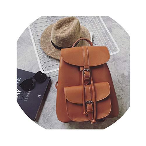 Women's Drawstring PU Leather Backpack School Bags Teenage Girls Backpacks,Brown (Kathy Belt Van Zeeland)