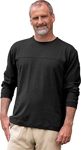 Horizon Long-Sleeve Hemp/Organic Cotton Tee Pullover (Large, Black)