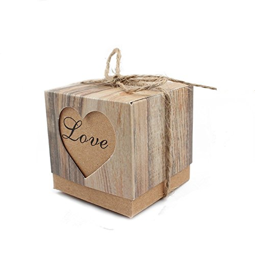 Leehome 100PCS Favor Boxes 2x2x2 Inches Love Rustic Wedding Party Candy Gift Boxes with Burlap Twine