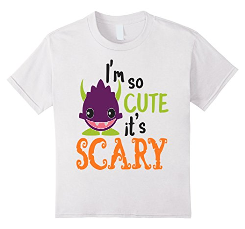 [Kids Halloween Shirt Kids Monster Im So Cute Its Scary School 8 White] (Last Minute Cute Halloween Costumes)