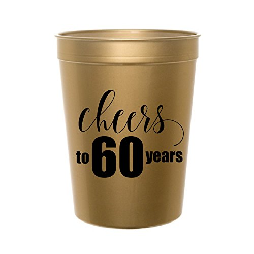 Cheers to 60 Years, Gold Cheers to 60 Years Plastic Cups, 60th Birthday Party, 60th Party Cup, Tableware, 60th Anniversary, Stadium Cups
