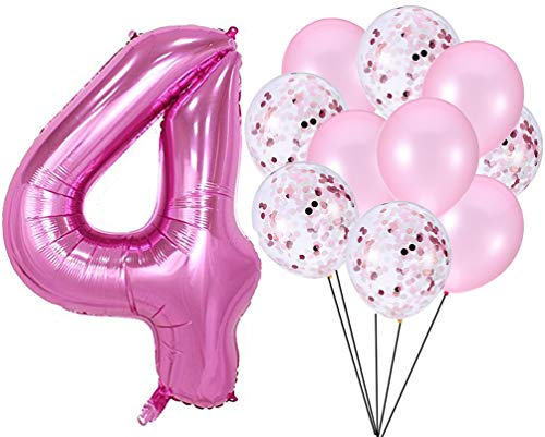 PartyMart Pink Number 4 Balloon Confetti -