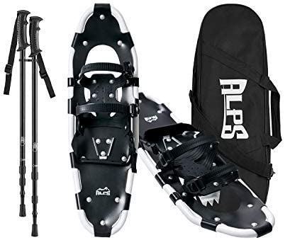 HRKING Mens Snowshoes Set,Youth Snowshoes with Trekking Poles,Carrying Tote Bag Blue 14 //21 //25//30