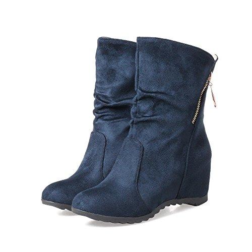 VogueZone009 Damen Rein Flaum Futter Mittler Absatz Rund Zehe Ziehen auf Stiefel Blau