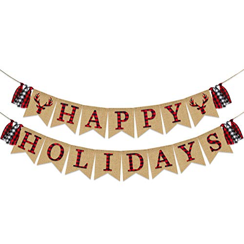 Happy Holidays Banner Burlap | Christmas Decorations | Rustic Christmas Banner | Red Black Buffalo Plaid Banner |Outdoor Indoor Holiday Decoration |Xmas Party Supplies | Mantle Fireplace Hanging Decor