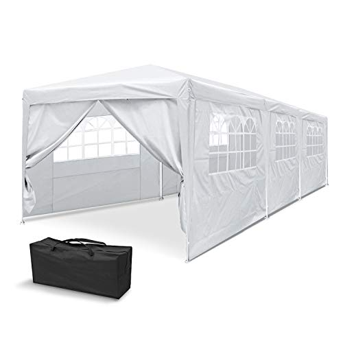 MCombo 10' x 30' Outdoor Tent Gazebo Party Wedding Canopy BBQ Shelter Pavilion Removable Sidewalls & Elegant Church (8 Sidewalls)