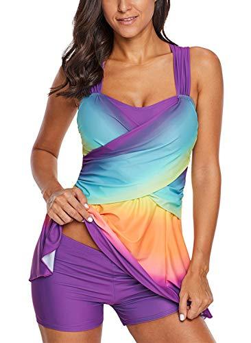 (Aleumdr Women's Ladies Plus Size No Underwire Ombre Tie Dye Swim Dress Tankini Set Bathing Suit with Shorts Purple X-Large 14 16)