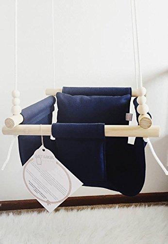 Indoor/Outdoor Navy Blue Fabric Baby Swing