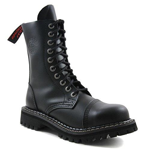 Angry Itch - 10-fori nero vera pelle anfibi allacciati militari unisex - taglie 36-48 - Made in EU!