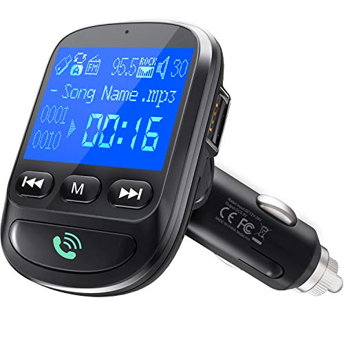ToHayie QC 3.0 Bluetooth FM Transmitter, Wireless Radio Adapter Hands-Free MP3 Player FM Transmitters Car Kit, 1.44 Inch Display, 2 USB Ports, U Disk, TF Card, AUX Input/Out - Black