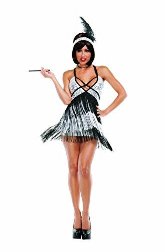 Starline Sexy Roaring 20s Boardwalk Flapper Women's Costume, Silver/Black, Small -