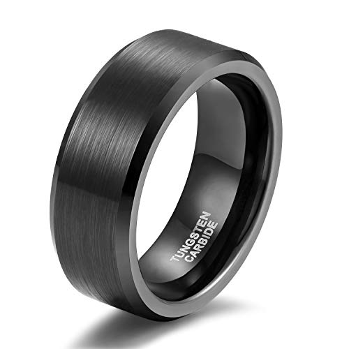 Shuremaster Black Tungsten Wedding Band For Men Brushed Beveled Edge Comfort Fit Size 11 (Mens Contemporary Rings)