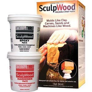 System Three Resins System Three 1600K16 Qt Kit Sculpwood Putty Two Part Epoxy 16 oz. Resin & 16 oz. Hardener - 12ct. Case