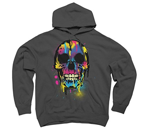 Skull with Colorful Drips And Men's X-Large Charcoal Graphic Pullover Hoodie
