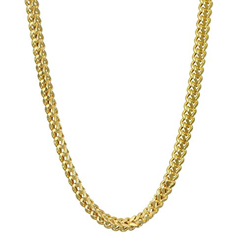 PY Bling 14K Gold Plated 2.5mm-4mm Solid Franco Square Box Link Chain Necklace Stainless Steel for Men and Women 18-30 Inches (2.5mm,30)