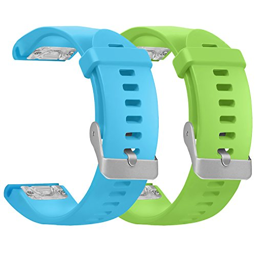 Garmin Fenix 5S Bands, SKYLET 2 Pack Quick Fit Silicone Replacement Accessories Straps for Garmin Fenix 5S GPS Smart Watch (Watch Not Included)[2PC: Sky Blue+Green]