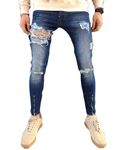 Lannister Fashion Destruidas Vaqueros Deshilachados Hombres Hombres Hombres Ciclistas Oportunamente Skinny Hombres De Cierre De Estiramiento Rasgado Pantalones De Mezclilla Blau