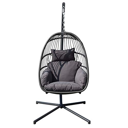 Belovedkai Egg Hanging Patio Lounge Chair Balcony Porch Swing Hammock Outdoor Chair Seat with Stand & Cushion (Single Seat 2)