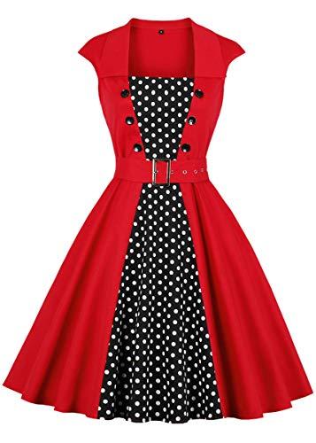 (Nihsatin Vintage Polka Dot Dress 1950s Waist Belt Cocktail Party Swing Dress Cap-Sleeve)