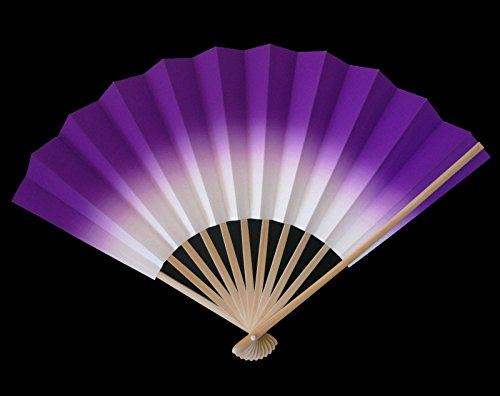 Japanese Geisha Odori Dancing Hand Held Sensu Folding Fan Purple, Made in Japan by Yokohama Gifts
