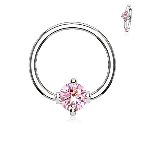 MoBody 16G-14G Round CZ Prong Set Captive Bead Piercing Ring Surgical Steel Ball Closure Septum Helix Cartilage Lip Piercing Jewelry (Silver-Tone/Pink CZ, 14G (1.6mm) 1/2