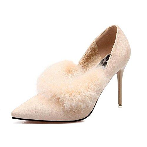 Chaussures Hauts Bureau Plus Danse Talons Nuit à apricot Et L De Hiver Lapin Lapin Pointu Cachemire De YC Femmes Printemps BoîTe qwIPxpAUX