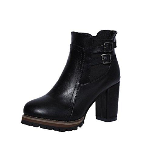 JIANGFU Frauen - Hoch - Heeled Stiefel Doppel - Breasted Frauenschuhe (38, BK)