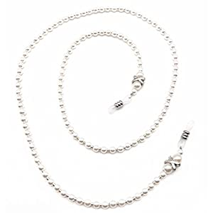 Fashion White Small Pearl Beaded Eyeglass Chain Holder for Women