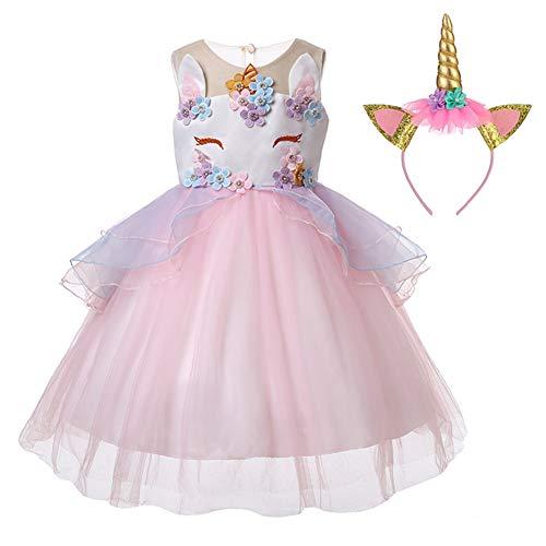 LZH meisjes eenhoorn feestjurk bloem ruches cosplay verjaardag prinses jurk